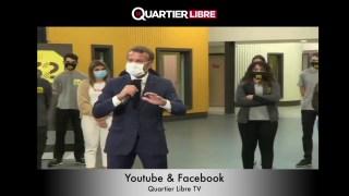 Quand Macron manque de s'étouffer devant des lycéens… à cause de son masque