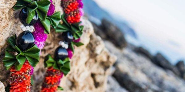 boda hawaiana. Ritual de leis