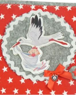 U-Heft Hülle Meister Adebar in rot mit Sterne