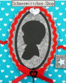 U-Hefthülle Baby Boy | Hellblau mit Herzchen