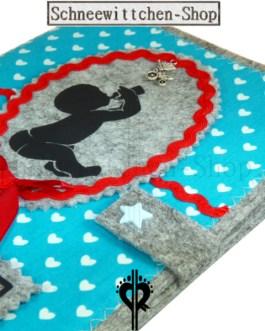 U-Hefthülle mit Baby | Hellblau mit Herzchen