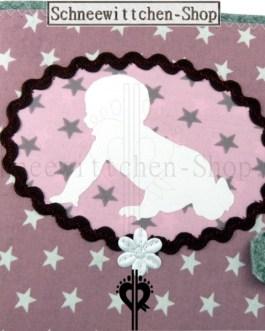 U-Heft Hülle mit Baby | Hellrosa mit Sternchen