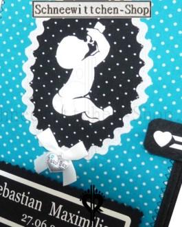 U-Heft Hülle mit Flaschen-Baby | Blau mit Punkten