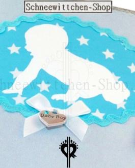 U-Heft Hülle mit Baby | Silber mit Sterne