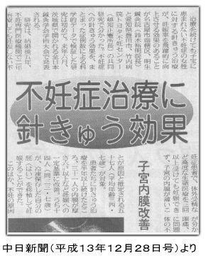 中日新聞不妊鍼灸効果