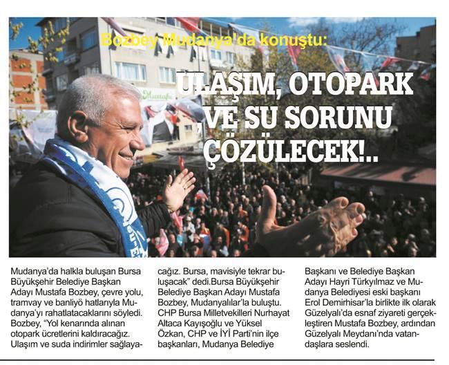 Bozbey Mudanya'da konuştu:   Bursa mavisiyle tekrar buluşacak