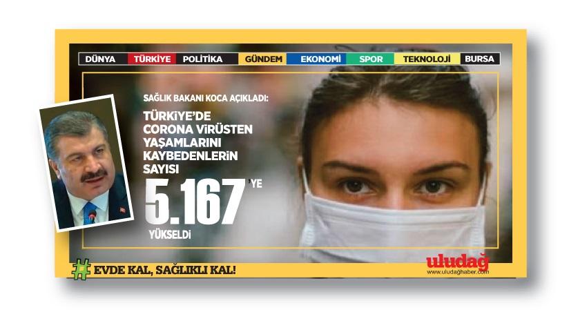 Türkiye'de koronavirüsten ölenlerin sayısı 5 bin 167'e yükseldi