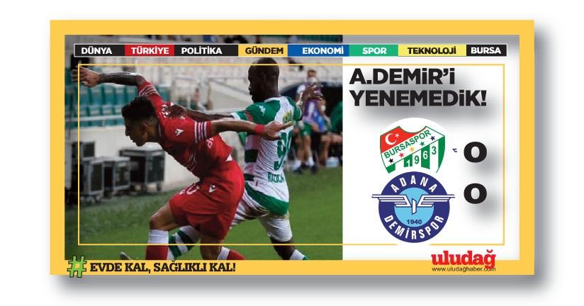 Bursaspor – Adana Demirspor maç sonucu: 0-0