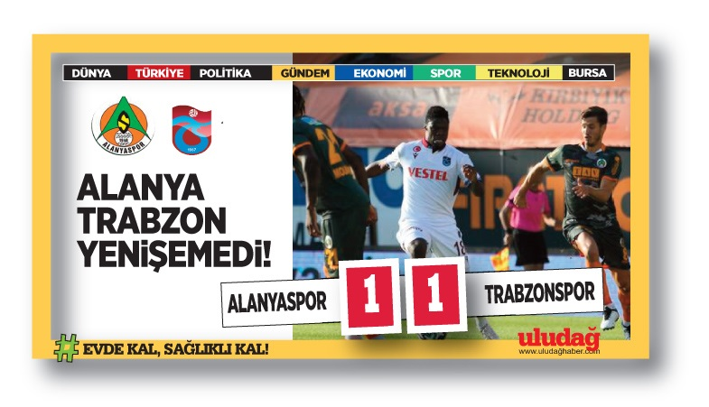 Alanyaspor – Trabzonspor maç sonucu: 1-1