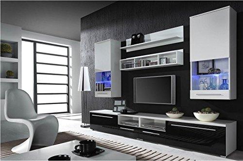 Wohnwand Komplett Luna Hochglanz Wohnzimmer Tv Wand FarbeWalnuss Dunkel gnstig online