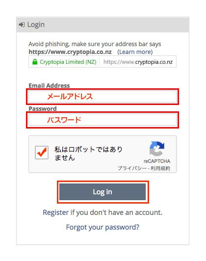 メールアドレス、先ほど登録したパスワードを入れて「Log in」をクリックします