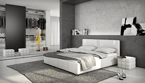 XXXL Polsterbett Designer Polster Bett mit Lattenrost  Bettkasten mit Komfortffnung LED Weiss