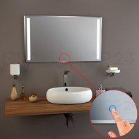 Badspiegel LED beleuchtet / Touch Sensor, Satinierte ...