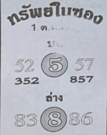 หวยซองทรัพย์ในซอง 1/10/64