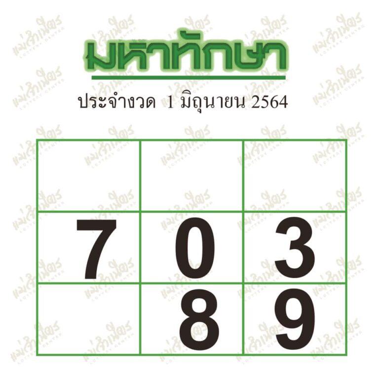 หวยมหาทักษา งวด 1/6/64 - หมาหวย