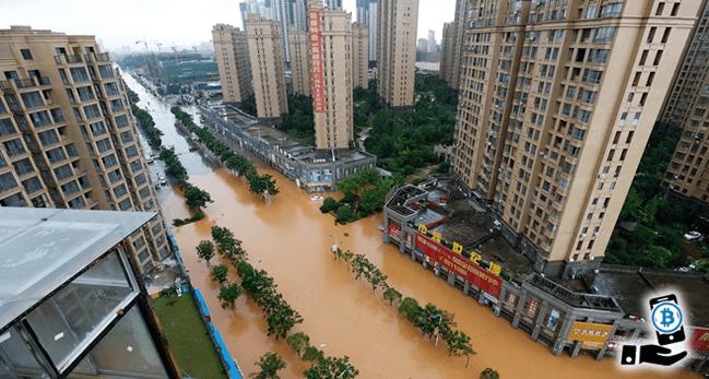 中国四川省の洪水でマイニング施設に甚大な被害が