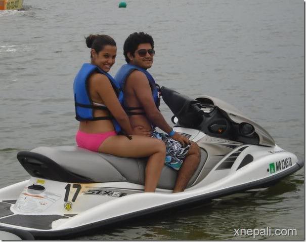 priyanka and rockhak in water vehicle