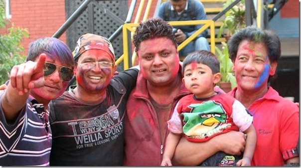 shiva shrestha with son and others