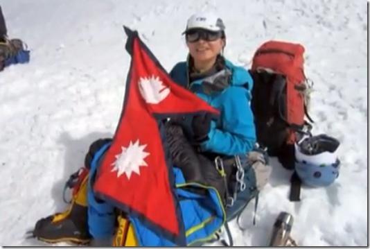 nisha adhikari on top of mt. everest