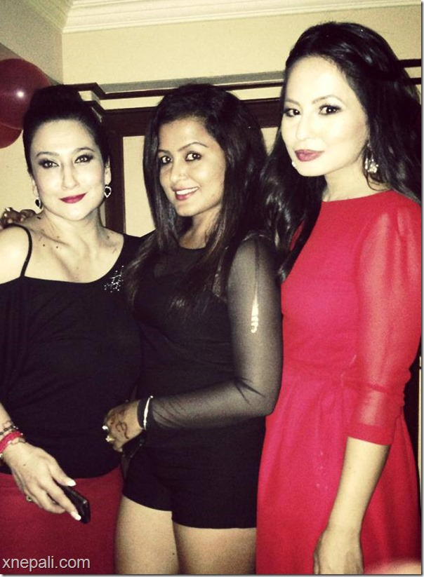 malvika subba with rekha thapa on her birthday
