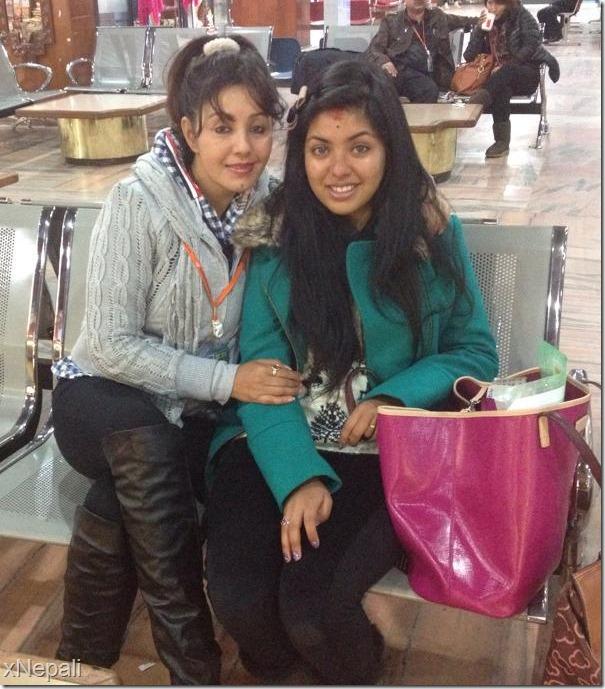 Karishma manandhar with kabita who is going back to usa