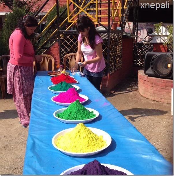 Karishma manandhar preparing holi celebration (3)