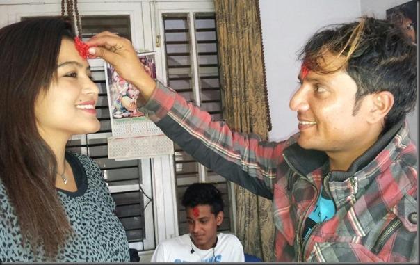 rekha receives dashain tika from shyam bhattarai
