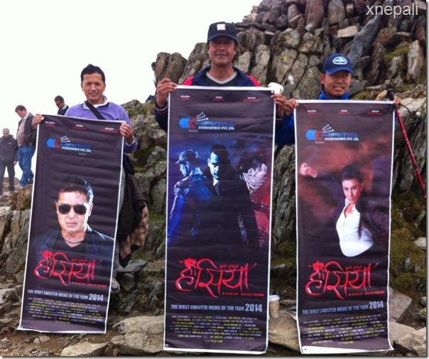 rajesh hamal climbed mountain with hasiya poster