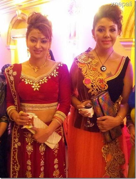 jharana thapa and karishma manandhar in rajesh hamal reeption party