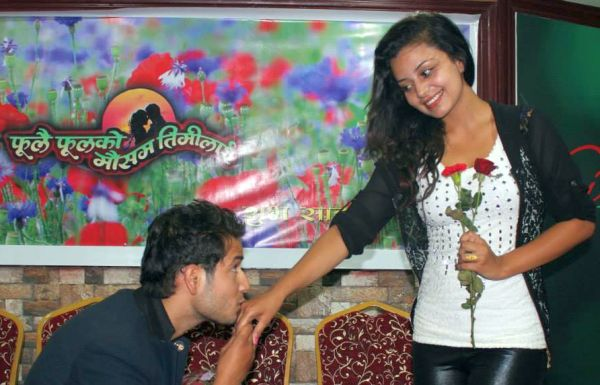 neeta dhungana and Amesh Bhandari kiss red rose