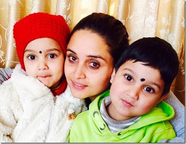 sanchita luitel with her son and daughter