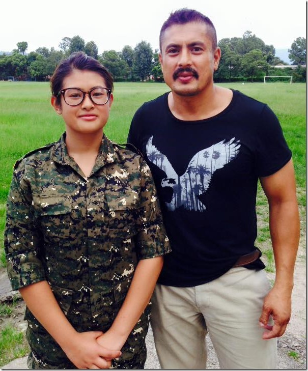 dhiren shakya with his daughter in NCC training Aug 2015