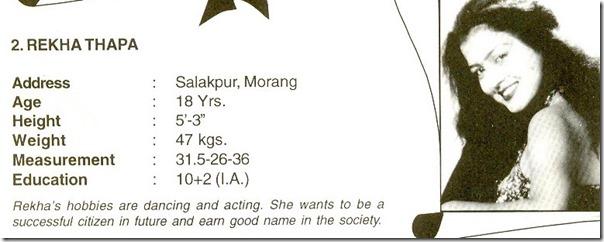 miss nepal 1999 rekha thapa