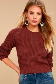 Campfire Cozy Brick Red Cropped Sweater