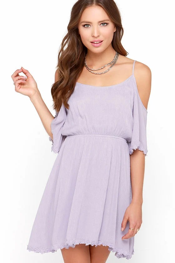 Cute Lavender Dress  OfftheShoulder Dress  Embroidered