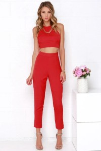 Red Two-Piece Set - Two-Piece Jumpsuit - $59.00