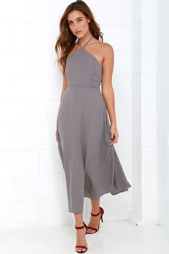 Grey Dress  Midi Dress  Halter Dress  4900