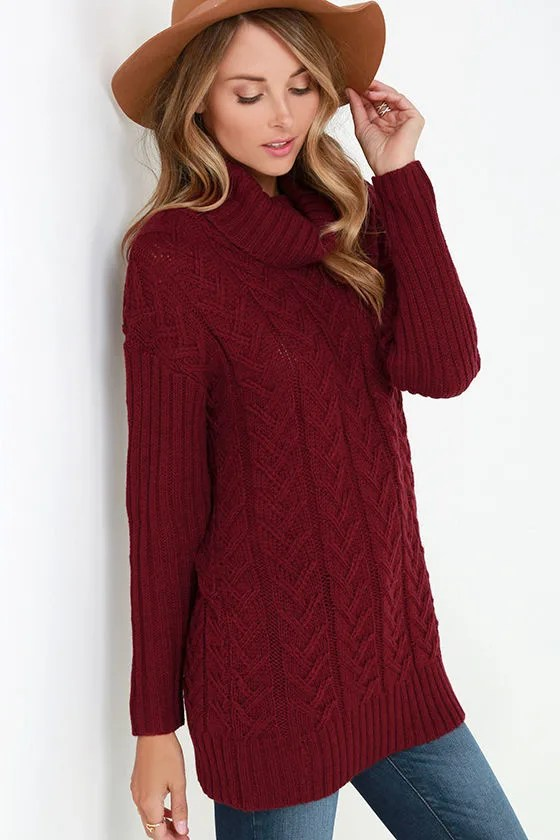 Burgundy Sweater  Cable Knit Sweater  Turtleneck Sweater
