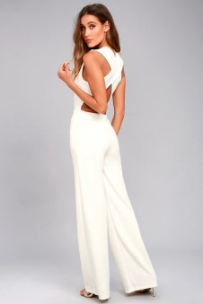 Thinking Out Loud White Backless Jumpsuit