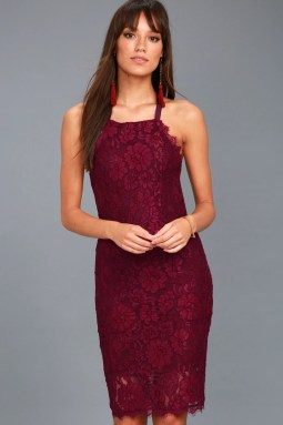 Wishful Wanderings Burgundy Lace Bodycon Midi Dress 1