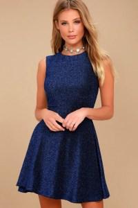 Stunning Blue Dress - Skater Dress - Metallic Dress