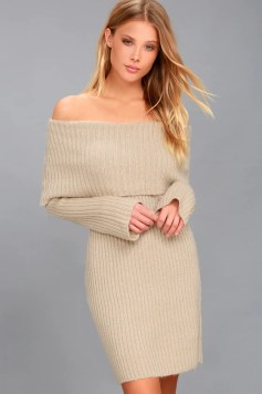 Weekend in Vail Beige Off-the-Shoulder Sweater Dress 2