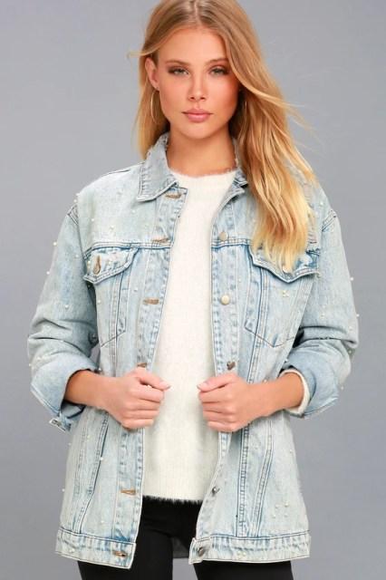 Hit Single Light Wash Pearl Denim Jacket 2