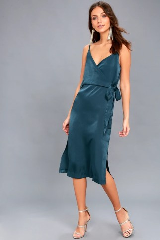 Fall in Love Teal Blue Satin Midi Wrap Dress