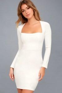 Sexy White Dress - Long Sleeve Dress - Bodycon Dress - LWD