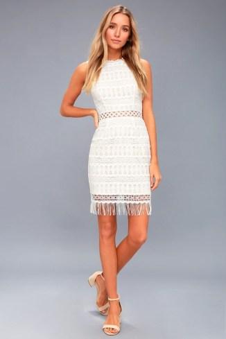 Kenna White Crochet Lace Sleeveless Bodycon Dress