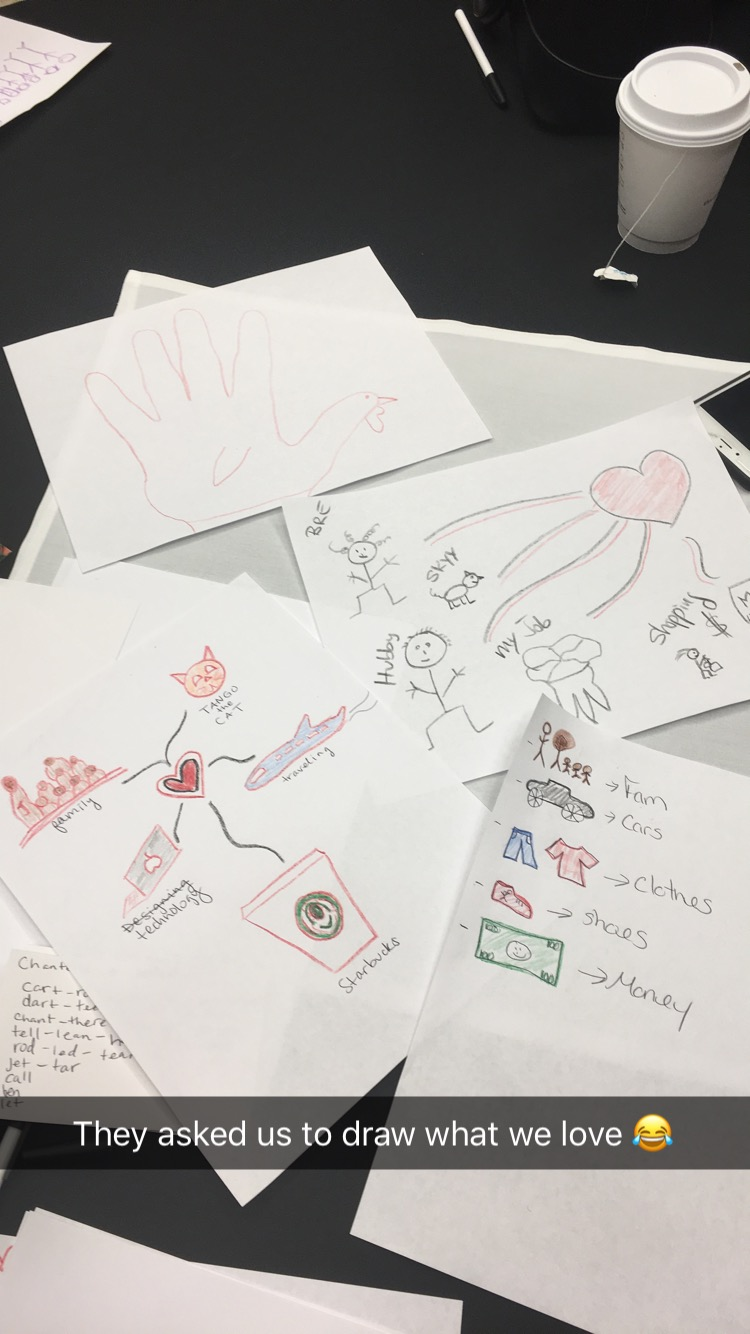 Drawings from our table of what we love... can you tell which one is mine?