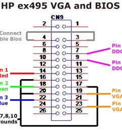 vga cable schematic wiring diagram autovehiclexodustech hp mediasmart ex495 vga biosvga cable and pinout [ 1200 x 900 Pixel ]