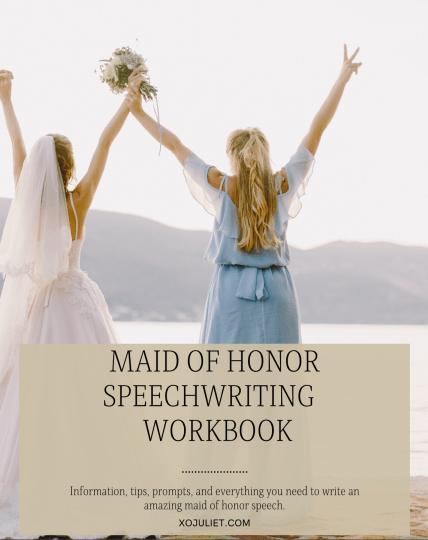 maid of honor speech workbook