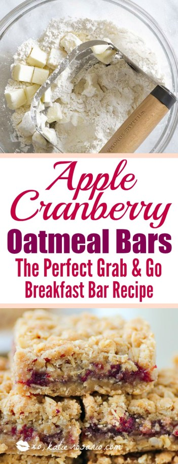 Apple Cranberry Oatmeal Bars: Omg! I love this bars so much! It is seriously so easy to make these apple cranberry oatmeal bars. I make them for the morning to have with my coffee. I toast them a little in my oven to get crispy on top! Soooo good! Pinning for later!